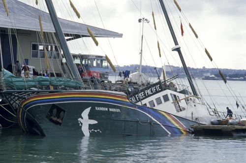 The bombed Rainbow Warrior in Auckland Harbour
